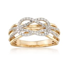 .33 ct. t.w. Diamond Reef Knot Multi-Row Ring in 14kt Yellow Gold, , default