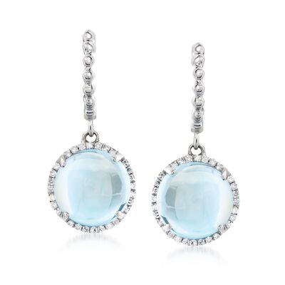 8.00 ct. t.w. Sky Blue Topaz and .14 ct. t.w. Diamond Drop Earrings in 14kt White Gold, , default