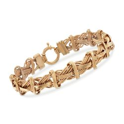 "14kt Yellow Gold Textured and Polished Mixed Link Bracelet. 8"", , default"