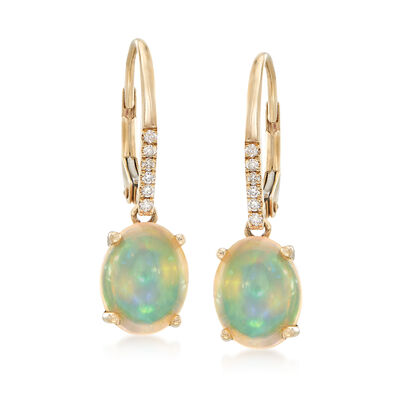 Opal Drop Earrings with Diamond Accents in 14kt Yellow Gold , , default