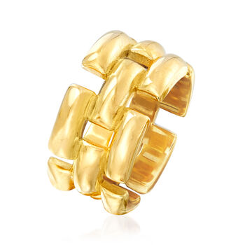 Italian 18kt Yellow Gold Over Sterling Silver Panther-Link Ring, , default