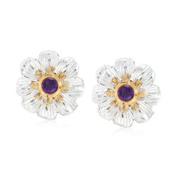 2.00 ct. t.w. Bezel-Set Amethyst Flower Earrings in Two-Tone Sterling Silver, , default