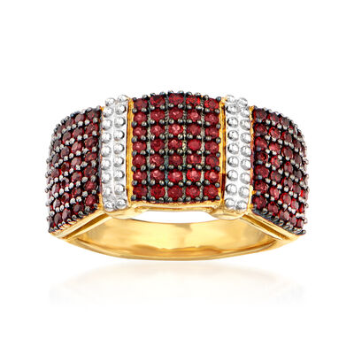 1.10 ct. t.w. Garnet Multi-Row Ring in 18kt Gold Over Sterling