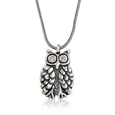 .20 ct. t.w. White Topaz Owl Necklace in Sterling Silver, , default