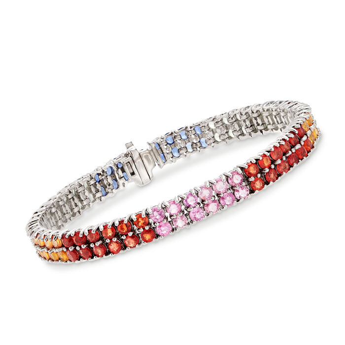 12.20 ct. t.w. Multicolored Sapphire Double-Row Bracelet in Sterling Silver. 7""