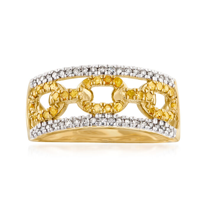 .50 ct. t.w. White and Yellow Diamond Link Ring in 18kt Gold Over Sterling