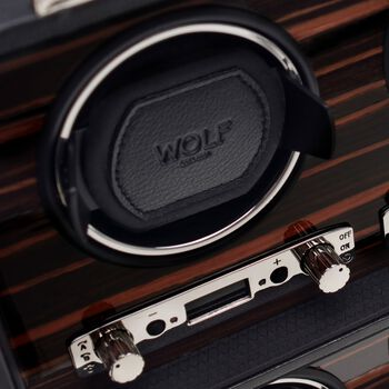 """Roadster""Black and Ebony Macassar Eight-Module Watch Winder by Wolf Designs"