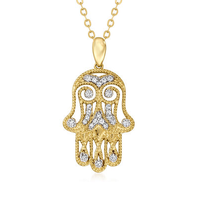 .20 ct. t.w. Diamond Hamsa Hand Pendant Necklace in 18kt Gold Over Sterling