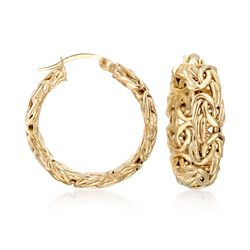 "18kt Yellow Gold Over Sterling Silver Small Byzantine Hoop Earrings. 1"", , default"