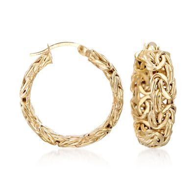 18kt Yellow Gold Over Sterling Silver Small Byzantine Hoop Earrings, , default