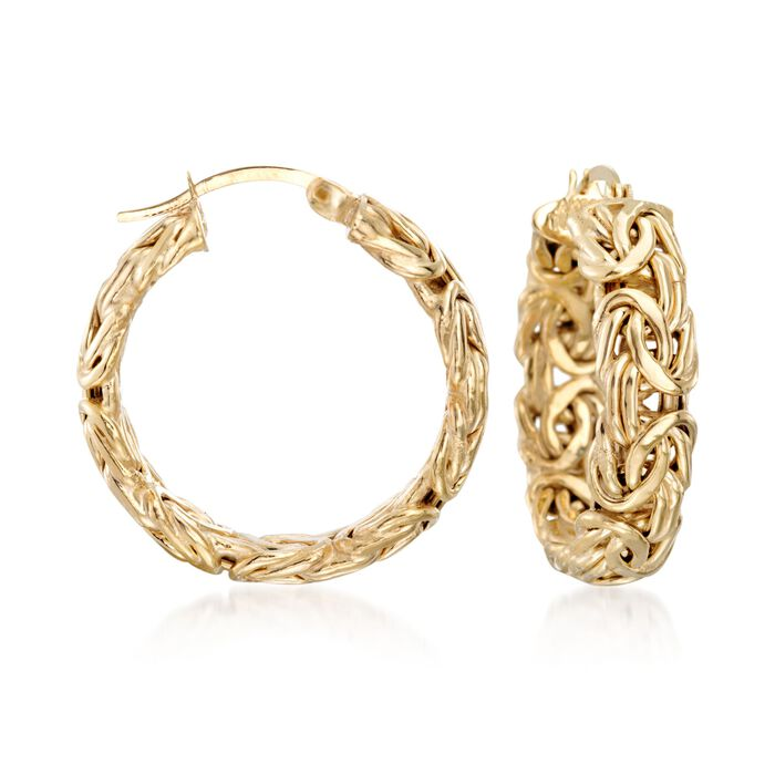 """18kt Yellow Gold Over Sterling Silver Small Byzantine Hoop Earrings. 1"""", , default"""