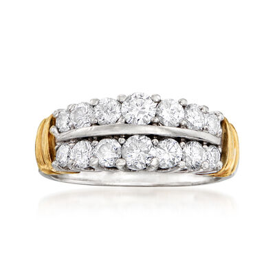 C. 1990 Vintage 1.00 ct. t.w. Diamond Double-Row Ring in 14kt Two-Tone Gold, , default