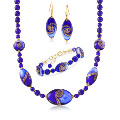Italian Murano Glass Jewelry Set: Bracelet, Drop Earrings and Necklace with 18kt Gold Over Sterling, , default