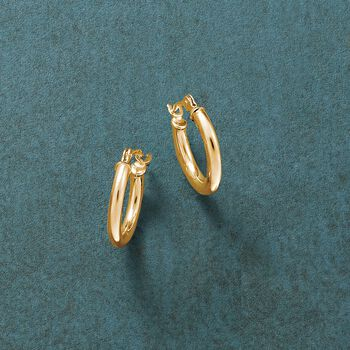 "1.5mm 14kt Yellow Gold Small Hoop Earrings. 1/2"", , default"