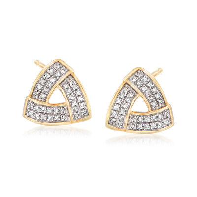 .14 ct. t.w. Pave Diamond Triangle Earrings in 14kt Yellow Gold, , default