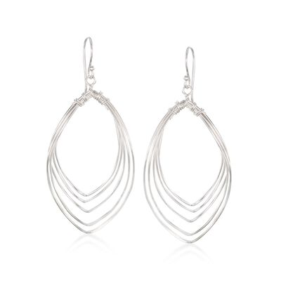 Sterling Silver Multi-Row Open Space Drop Earrings, , default