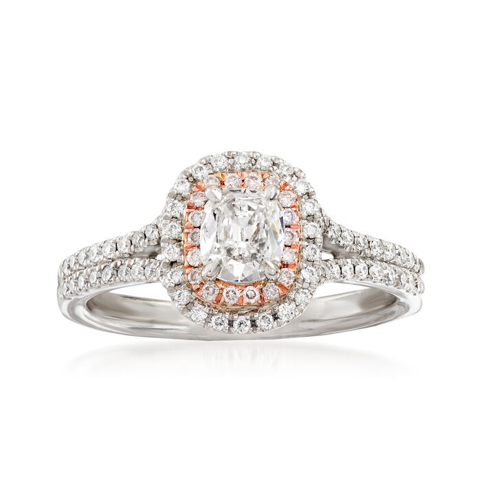 Henri Daussi .78 ct. t.w. White and Pink Diamond Engagement Ring in 14kt Two-Tone Gold. Size 6.5