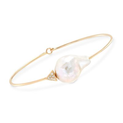 13-15mm Cultured Baroque Pearl and Pave Diamond Bracelet in 14kt Yellow Gold, , default
