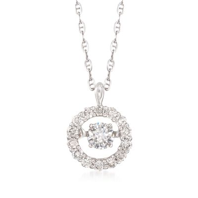 .41 ct. t.w. Floating Diamond Halo Pendant Necklace in 14kt White Gold, , default