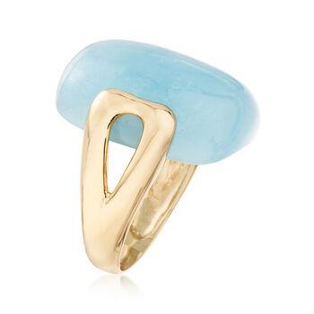 20.00 Carat Aquamarine Ring in 14kt Yellow Gold, , default