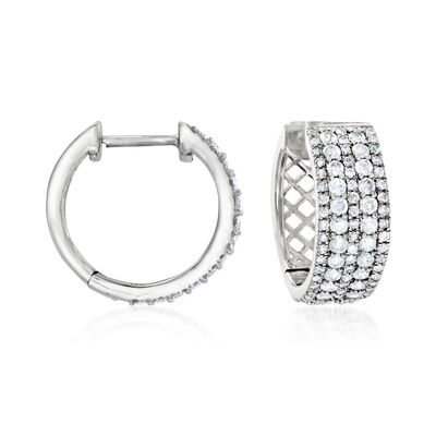 1.00 ct. t.w. Diamond Multi-Row Hoop Earrings in Sterling Silver