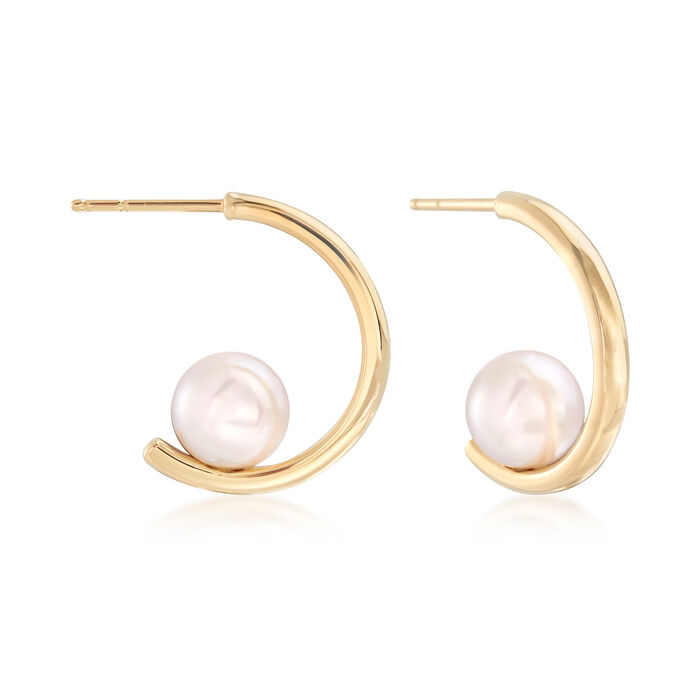 "Mikimoto 7.5mm A+ Akoya Pearl Hoop Earrings in 18kt Yellow Gold. 3/4"", , default"