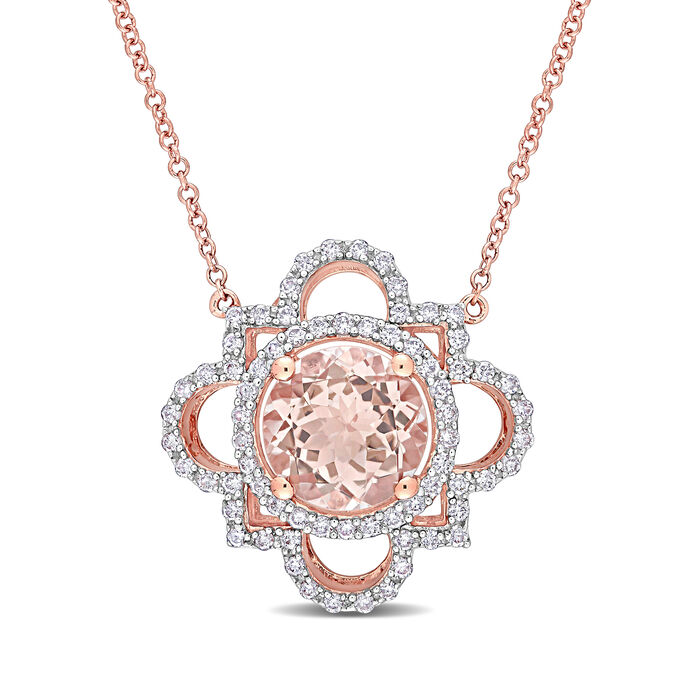 """2.50 Carat Morganite and .47 ct. t.w. Diamond Necklace in 14kt Rose Gold. 17"""", , default"""