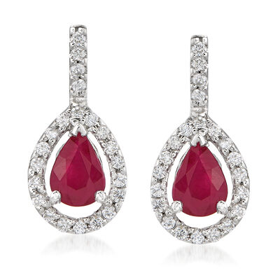 1.60 ct. t.w. Ruby and .45 ct. t.w. Diamond Drop Earrings