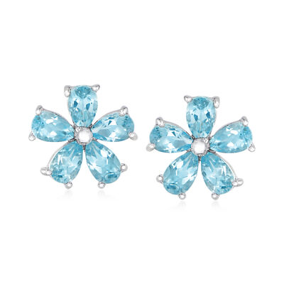 2.50 ct. t.w. Sky Blue Topaz Flower Stud Earrings in Sterling Silver