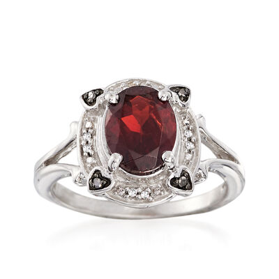 2.20 Carat Garnet Ring With Black and White Diamond Accents in Sterling Silver, , default