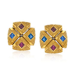C. 1990 Vintage 1.80 ct. t.w. Ruby and 1.80 ct. t.w. Sapphire Clip-On Earrings in 18kt Yellow Gold , , default
