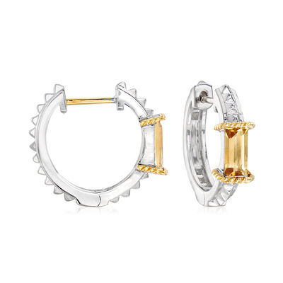 "Andrea Candela ""La Romana"" .89 ct. t.w. Citrine Hoop Earrings in Sterling Silver and 18kt Yellow Gold  , , default"