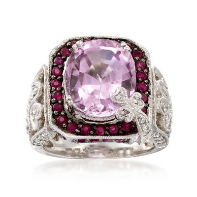 C. 2000 Vintage 6.10 Carat Kunzite and .70 ct. t.w. Ruby Ring with Diamonds in 14kt White Gold, , default