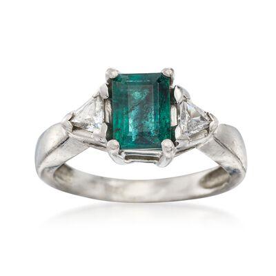 C. 2000 Vintage .80 Carat Emerald and .40 ct. t.w. Diamond Ring in Platinum, , default