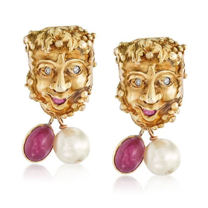 C. 1970 Vintage Cultured Pearl and 4.30 ct. t.w. Ruby Roman God Drop Earrings with .12 ct. t.w. Diamonds in 14kt Yellow Gold, , default