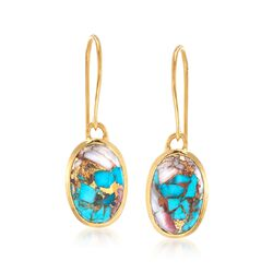 Oval Kingman Turquoise Drop Earrings in 18kt Gold Over Sterling, , default