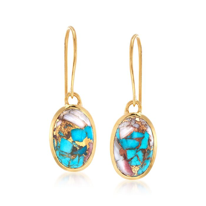 Oval Kingman Turquoise Drop Earrings in 18kt Gold Over Sterling , , default