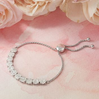 2.00 ct. t.w. Diamond Cluster Bolo Bracelet in Sterling Silver