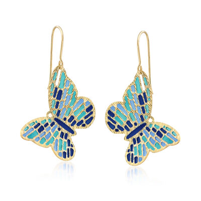 Italian Cathedral Enamel  Butterfly Drop Earrings in 14kt Yellow Gold, , default
