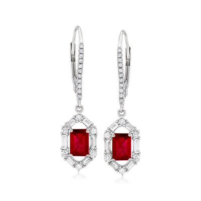 1.40 ct. t.w. Ruby and .63 ct. t.w. Diamond Drop Earrings in 18kt White Gold, , default