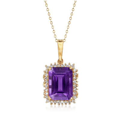 C. 1980 Vintage 13.50 Carat Amethyst and .80 ct. t.w. Diamond Pendant Necklace in 14kt Yellow Gold, , default