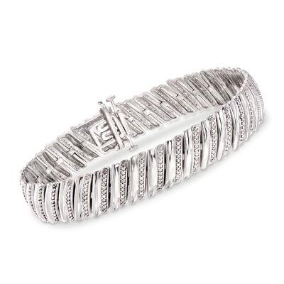 1.00 ct. t.w. Diamond Diagonal Bar Bracelet in Sterling Silver, , default