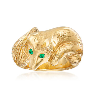 Italian Fox Ring with Emerald Accents in 18kt Gold Over Sterling