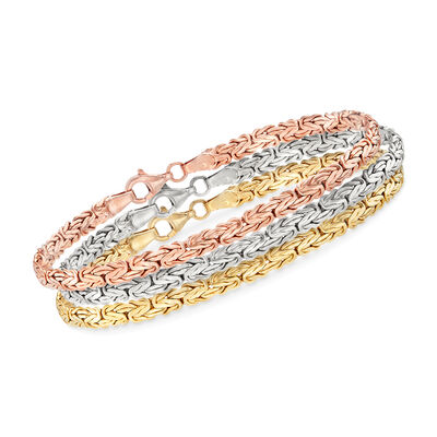18kt Tri-Colored Gold Over Sterling Jewelry Set: Three Flat Byzantine Bracelets, , default