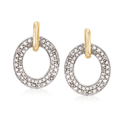 Two-Tone .50 ct. t.w. Diamond Doorknocker Earrings in Sterling Silver and 14kt Yellow Gold, , default