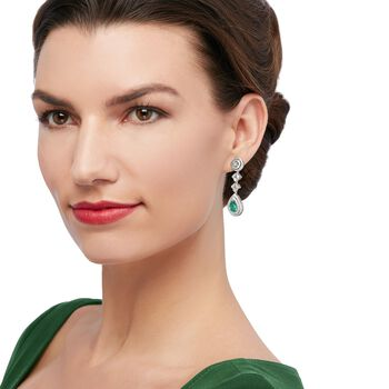 2.50 ct. t.w. Emerald and 2.50 ct. t.w. Diamond Drop Earrings in 18kt White Gold
