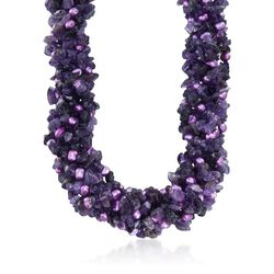 "Amethyst and Purple Cultured Pearl Torsade Necklace With Sterling Silver. 18"", , default"