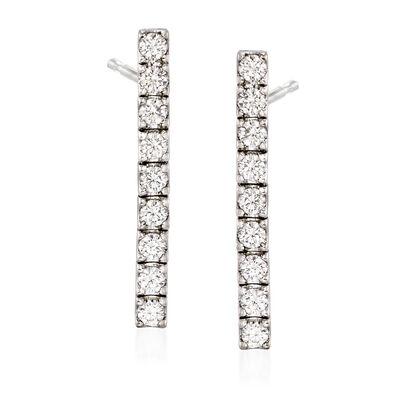 C. 1990 Vintage 1.80 ct. t.w. Diamond Linear Drop Earrings in 18kt White Gold, , default