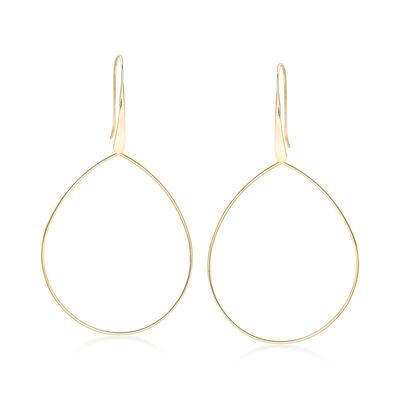 14kt Yellow Gold Open-Space Teardrop Earrings, , default