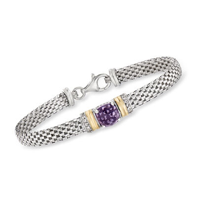 1.90 Carat Amethyst and .10 ct. t.w. White Topaz Bracelet in Sterling Silver with 14kt Yellow Gold, , default